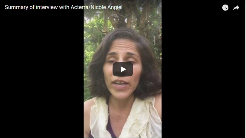 Summary of interview with Acterra/Nicole Angiel