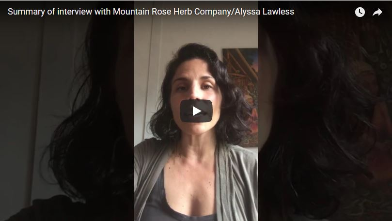 Summary of interview with Alyssa Lawless at Mountain Rose Herb Company
